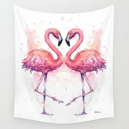 Flamingo Watercolor Two Flamingos in Love Wall Tapestry