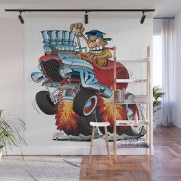 Highboy Hot Rod Race Car Cartoon Wall Mural