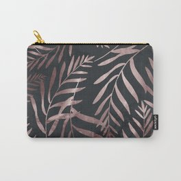Rose Gold Leaves on Dark Gray Black Carry-All Pouch