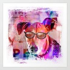 Cool colorful hippster dog artwork Art Print