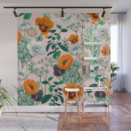 Wildflowers #pattern #illustration Wall Mural