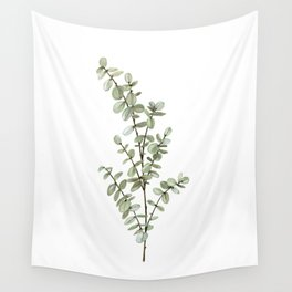 Baby Blue Eucalyptus Watercolor Painting Wall Tapestry