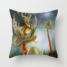 Mushroom dragon Throw Pillow