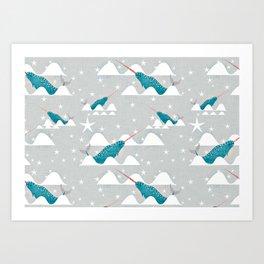 Sea unicorn - Narwhal grey Art Print