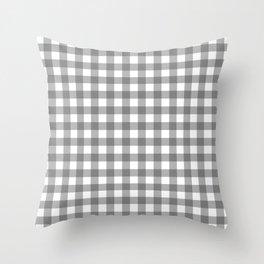 Plaid (gray/white) Throw Pillow