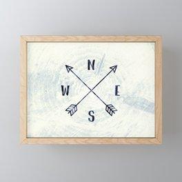 Compass in Navy Blue Framed Mini Art Print