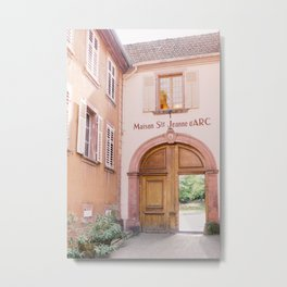 Pink Maison in France with wooden door | Houses in Europe travel photography | Pastel photo print Metal Print