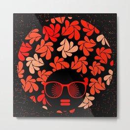 Afro Diva : Coral Red Metal Print