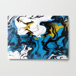 Dreamscape 01 in Blue, White & Gold Metal Print