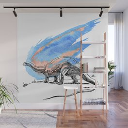 Brontosaurus Dinosaur on Blue Watercolor Asteroid Wall Mural