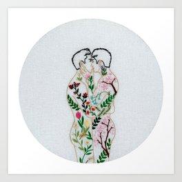 "Embroidery art ""Spring"" printed / Gay art Art Print"