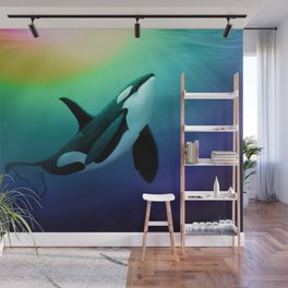 """The Dreamer Ascends"" by artist Amber Marine ~ (Copyright 2015) ~ Orca / Killer Whale Art Wall Mural"