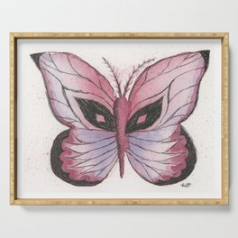 Ink and Watercolor Butterfly in rose colored tones Serving Tray