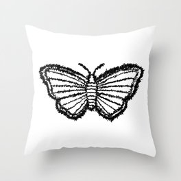 Scribble Butterfly Throw Pillow