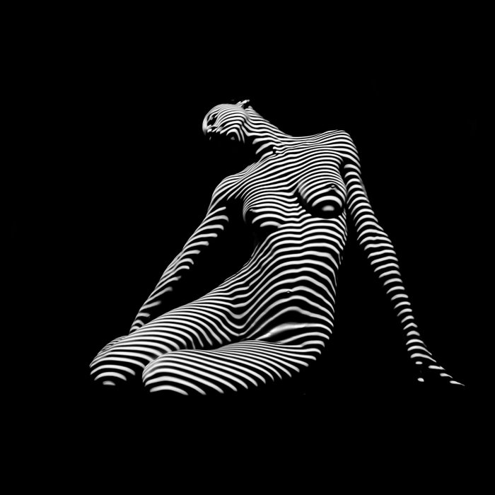 0075-DJA Zebra Seated Nude Woman Yoga Black White Abstract Curves Expressive Line Slim Fit Girl Comforters