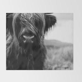 Scottish Highland Cattle Baby - Black and White Animal Photography Throw Blanket