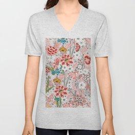 Red Vintage Floral Pattern Unisex V-Neck