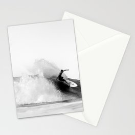 Surfer, Big Wave, Beach Wall Art, Black and White Photograph Stationery Cards