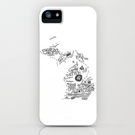 Michigan - Hand Lettered Map iPhone Case