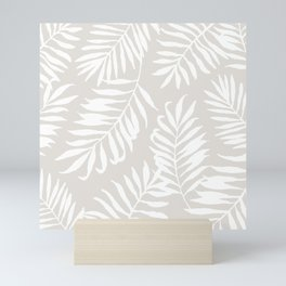 Tropical Palm Leaves - Palm Leaf Pattern - Sandy Beige Mini Art Print
