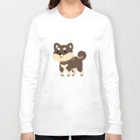 shiba inu Long Sleeve T-shirts featuring Black Shiba Inu  by SparklePrince
