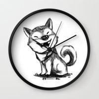 shiba Wall Clocks featuring Shiba by mecantdraw