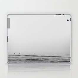 Surfers - Black and White Ocean Photography Huntington Beach California Laptop & iPad Skin