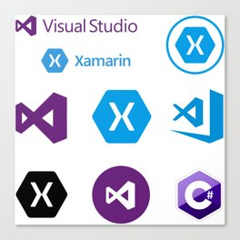 9 developers stickers in 1 visual studio code xamarin Canvas Print
