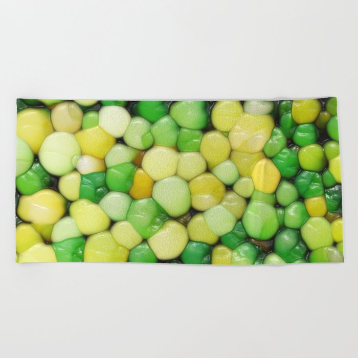 Lemon Lime Abstract Beach Towel
