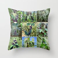 marijuana Throw Pillows featuring Marijuana Collage by Beautiful Buds 420