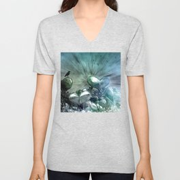 Lost Hearts in Blue, Digital Art Unisex V-Neck