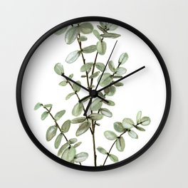 Baby Blue Eucalyptus Watercolor Painting Wall Clock