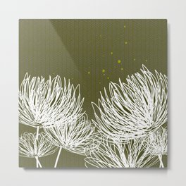 Olive Doodle Floral by Friztin Metal Print