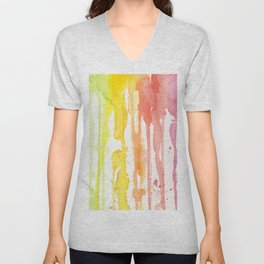 Rainbow Watercolor Texture Pattern Abstract Unisex V-Neck