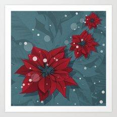 Poinsettias - Christmas flowers   BG Color II Art Print