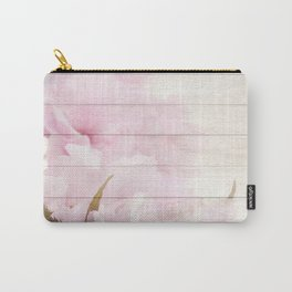 Romantic Vintage Shabby Chic Floral Wood Pink Carry-All Pouch
