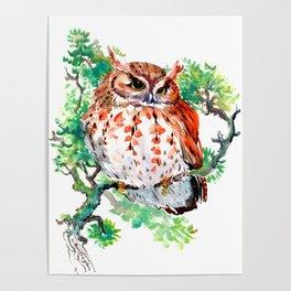 Your Best Friend Owl, woodland Owl art,, children illustration of OWL Poster