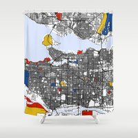 mondrian Shower Curtains featuring Vanvouver Mondrian by Mondrian Maps