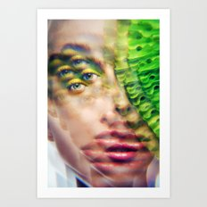 Green Infintium - Lush Vivid Multitudes of her Eyes and Face Art Print