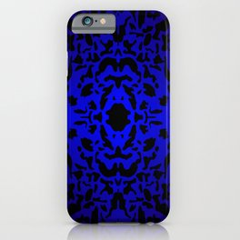 Openwork ornament of blue spots and velvet blots on black. iPhone Case