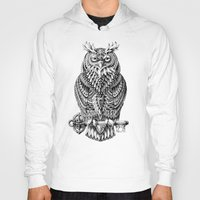 owl Hoodies featuring Great Horned Owl by BIOWORKZ