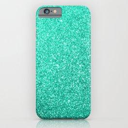 Aquamarine Aqua Blue Sparkly Glitter iPhone Case