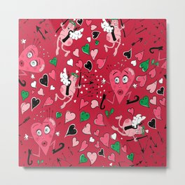 Cupid in Red Metal Print