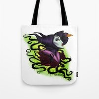 maleficent Tote Bags featuring Maleficent by Katie Simpson a.k.a. Redhead-K