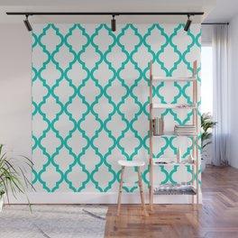 Aqua Moroccan Quatrefoil Pattern Wall Mural