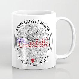 Charlotte, USA Road Map Art - Earth Tones Coffee Mug