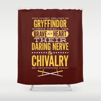 gryffindor Shower Curtains featuring Gryffindor by Dorothy Leigh