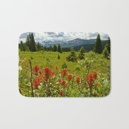 Red paintbrush with mountain view Bath Mat