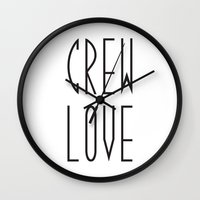 animal crew Wall Clocks featuring Crew by xMaxie77
