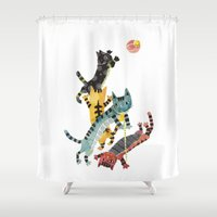 cats Shower Curtains featuring Cats by ShangheeShin